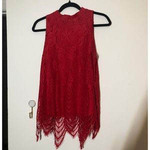 NWOT Red Sleeveless Lace Blouse
